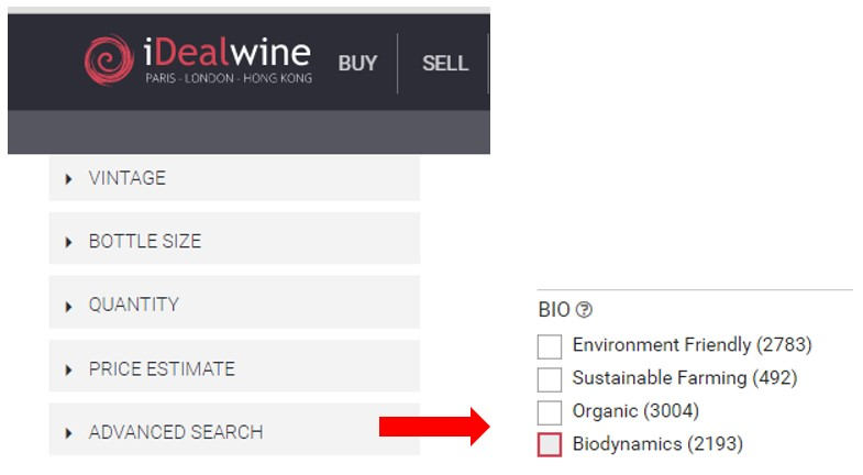 NEW: find organic wines on iDealwine in just one click